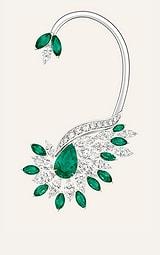 에메랄드 장식의 화이트 골드 다이아몬드 이어 커프