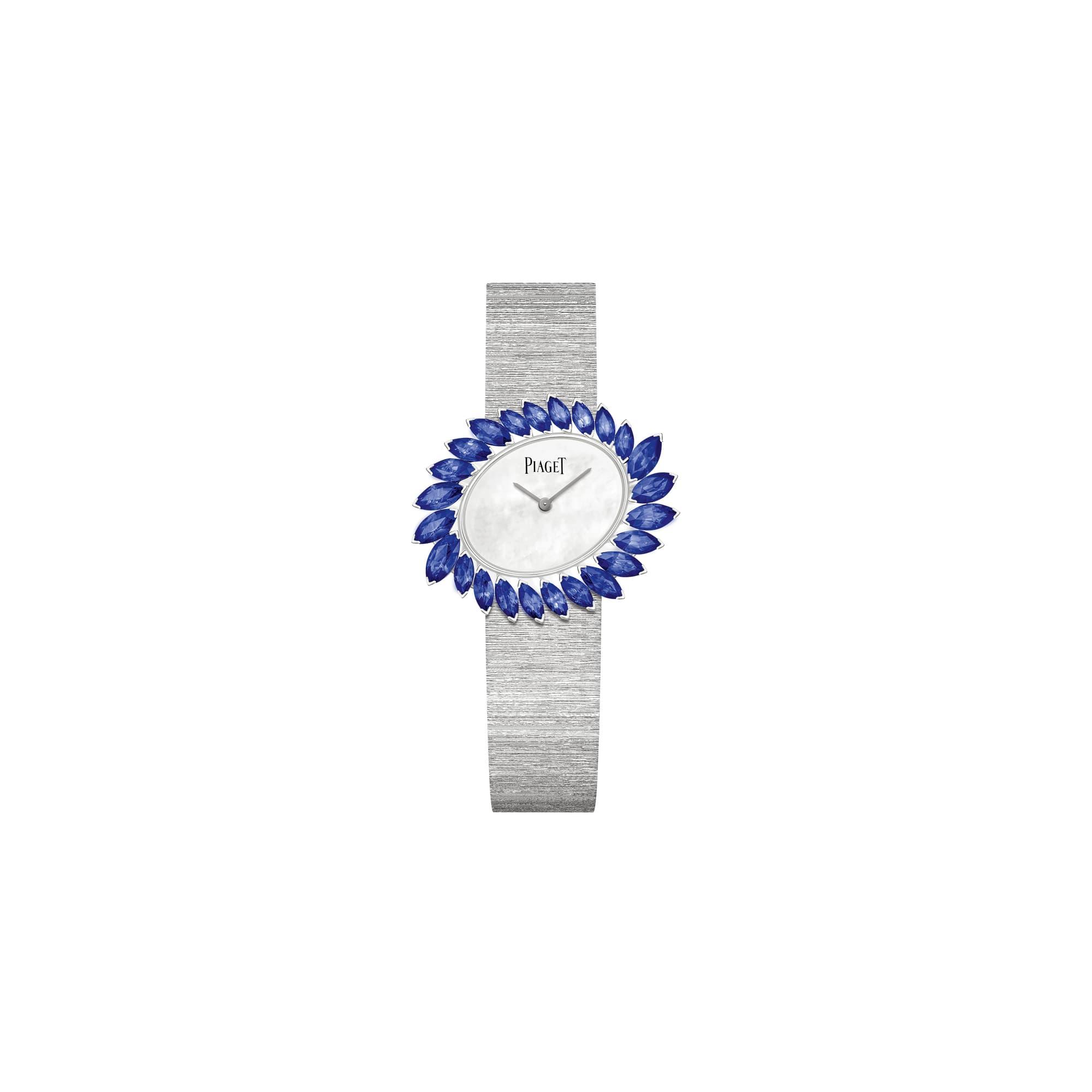 사파이어 장식의 골든 오아시스 화이트 골드 시계
