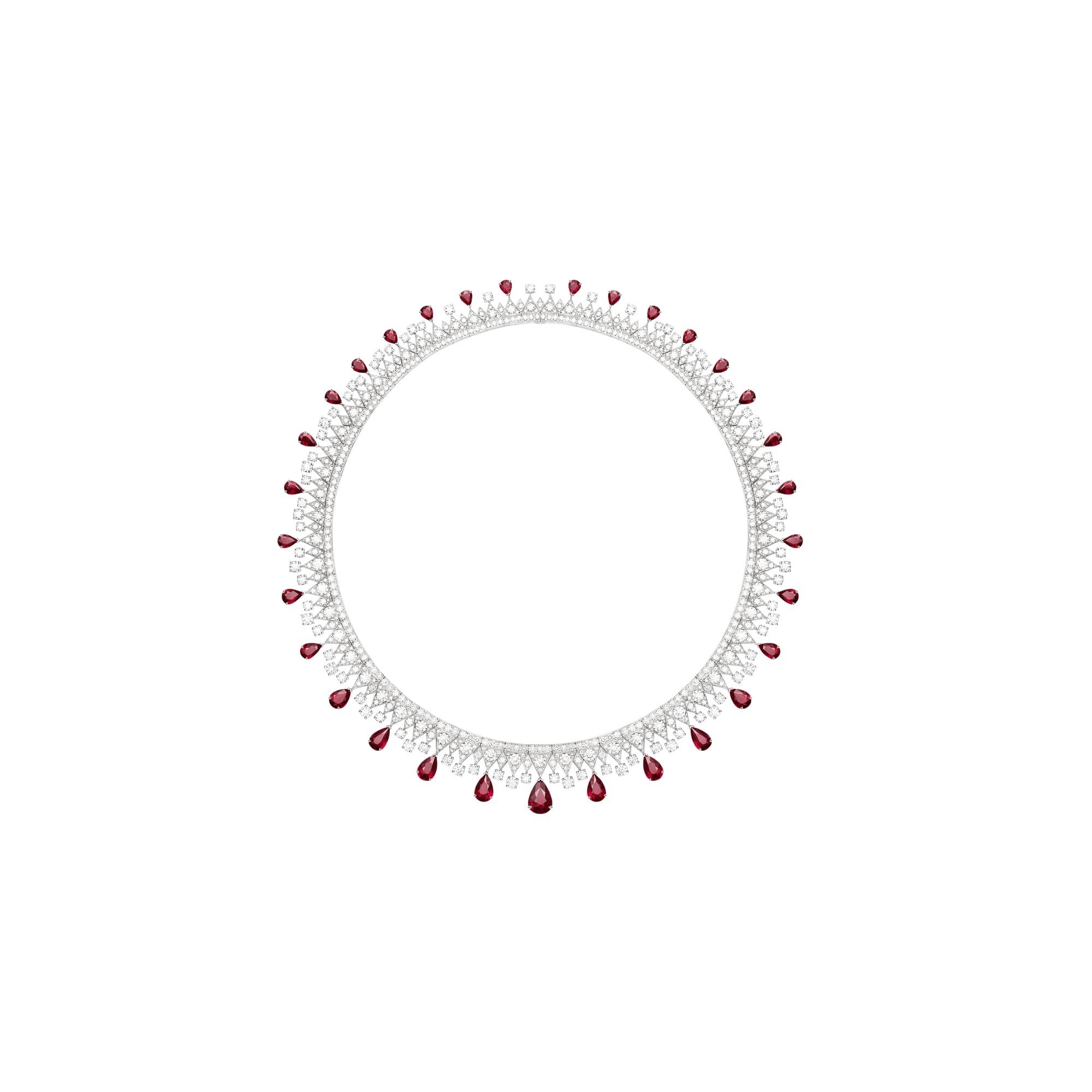 루비 장식의 하이 주얼리 다이아몬드 네크리스