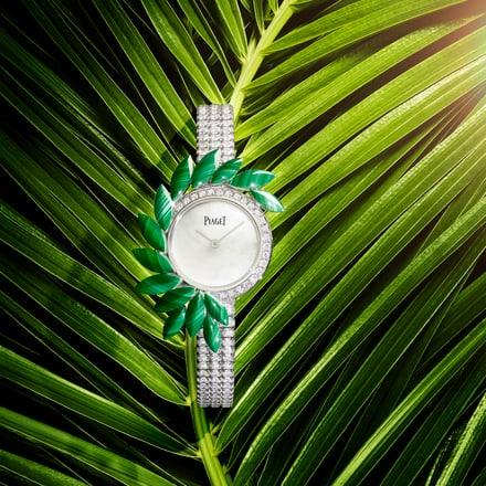 말라카이트 장식의 하이 주얼리 시계