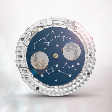 Механизм Piaget 584P в черном исполнении с указателем фаз Луны
