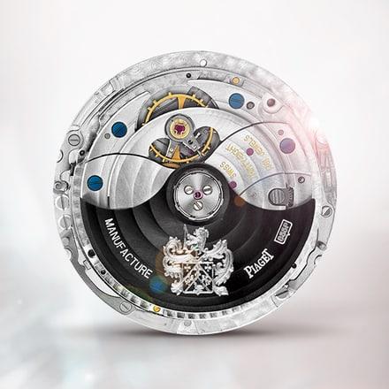 Ultraflaches mechanisches Uhrwerk Piaget 855PBlack mit Automatikaufzug und ewigem Kalender