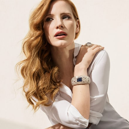 Jessica Chastain wearing a high jewellery diamond bracelet