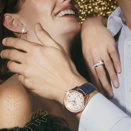 Piaget white gold diamond jewellery and a rose gold diamond watch for Holiday Season