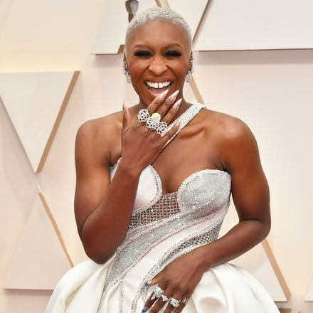 Cynthia Erivo wearing high jewellery creations at the Oscars 2020.