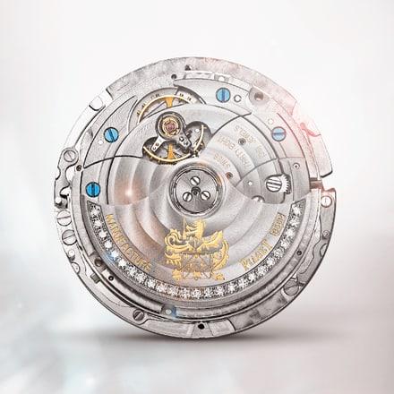 Ультратонкий механизм Piaget 856P с автоподзаводом и вечным календарем, украшенный драгоценными камнями