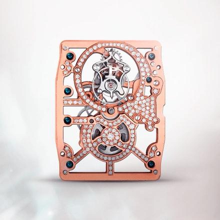 Ultraflaches skelettiertes mechanisches Uhrwerk Piaget 600DPink mit Handaufzug und Tourbillon