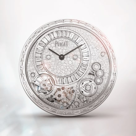 Ultraflaches diamantbesetztes mechanisches Uhrwerk Piaget 900D mit Handaufzug in Weißgold