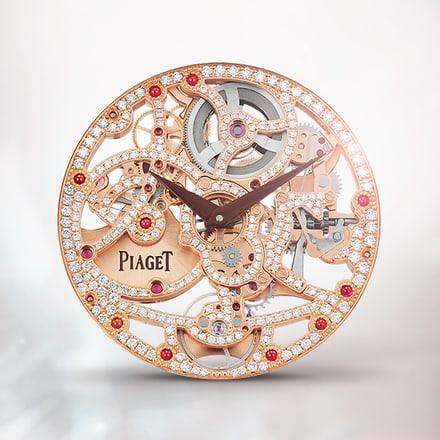 Piaget 1200D rose gold gem-set ultra-thin skeleton movement