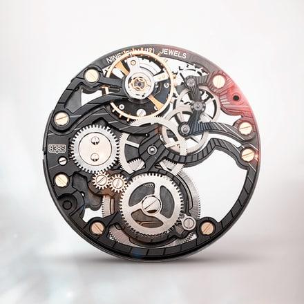 Ultraflaches skelettiertes mechanisches Uhrwerk Piaget 838SBlack mit Handaufzug