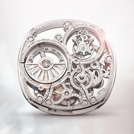 Ультратонкий скелетонизированный механизм Piaget 1270D с турбийоном, украшенный драгоценными камнями