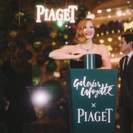 Jessica Chastain wears a Piaget luxury necklace