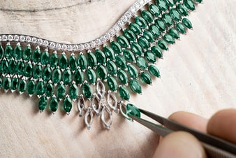 marquise-cut diamond necklace inspired by a woman's smile