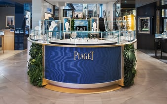 Piaget pop up displays rose gold jewelry and luxury watches