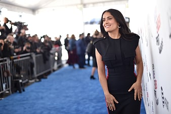 Salma Hayek wears Piaget high jewellery earrings and ring at the Spirit Awards