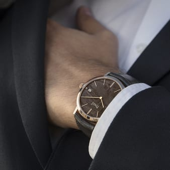 men luxury watch with a meteorite dial
