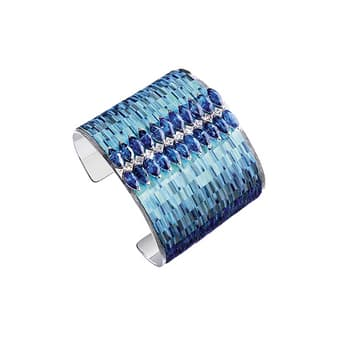 Precious stones and white gold cuff from Piaget High Jewellery collection Sunny Side of Life