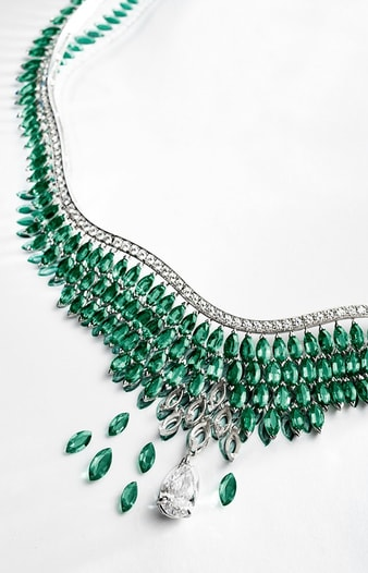 diamond necklace with emeralds