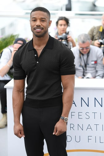 Michael B Jordan wears a rose gold Altiplano luxury watch in Cannes