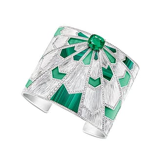 Piaget white gold, emerald and diamond cuff bracelet