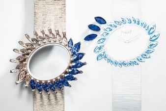 blue waterfall white gold high jewellery watch