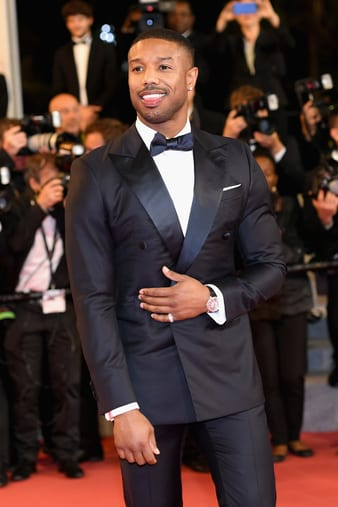 Michael B Jordan in white gold Piaget Altiplano watch in Cannes