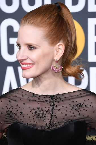Jessica Chastain wearing Piaget High Jewellery earrings