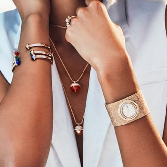 Rose gold jewellery for women and Possession cuff watch