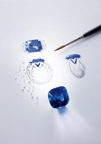 高級リングの宝石セッティング