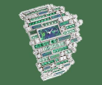 reloj en oro blanco, esmeralda y diamante