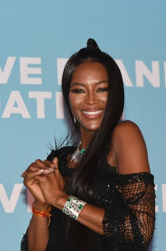 Naomi Campbell wearing a Piaget bracelet at Cannes film festival