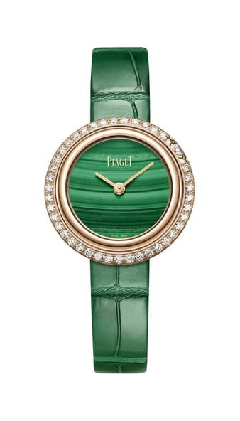 Montre de luxe pour femme en or rose, diamants et malachite