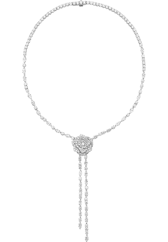 Колье Piaget Rose из белого золота с бриллиантами, украсившее Джессику Честейн на церемонии «Золотой глобус» 2017