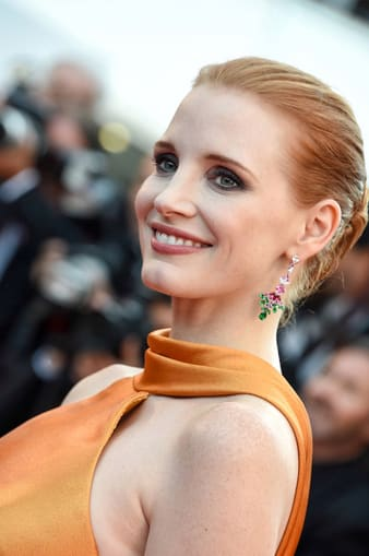 Jessica Chastain wearing a pair of Piaget earrings at Cannes film festival