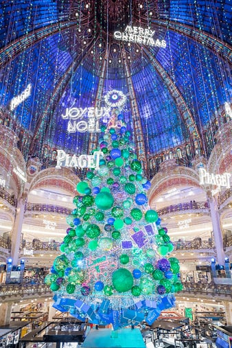 inauguration of Piaget luxury jeweller's Christmas tree at Galeries Lafayette