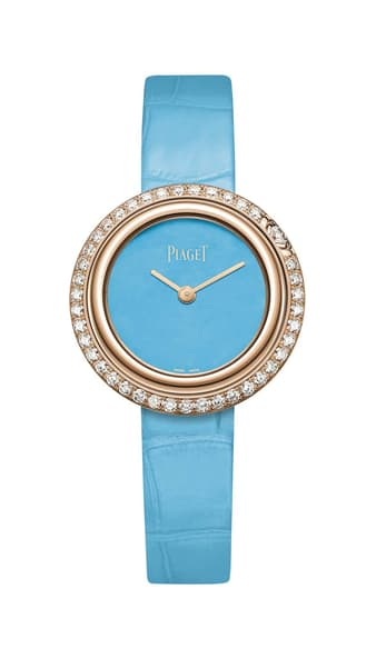 Watch in rose gold and diamonds with a natural turquoise dial