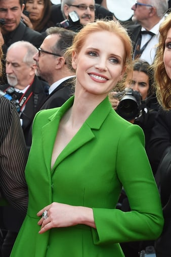 Jessica Chastain wearing Piaget at the 2017 Cannes film festival