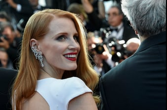 Jessica Chastain wearing Piaget diamond earrings at the closing of Cannes film festival