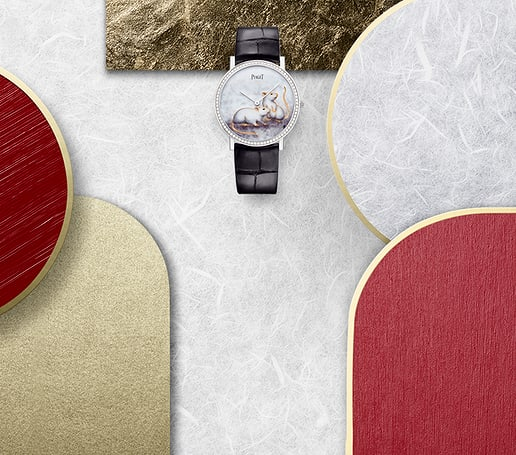 Ultra-thin white gold diamond watch for chinese new year