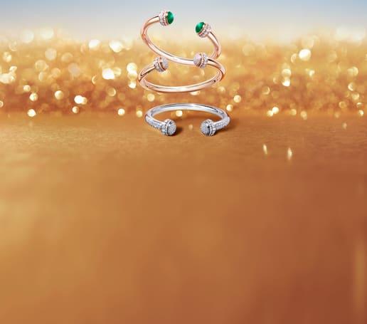 Nouveautés joaillières de luxe: bracelets ouverts en or et diamants