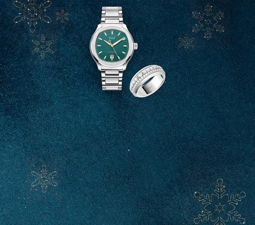 Luxusuhr für Herren & Ring aus Weißgold mit Diamant für die Weihnachtszeit