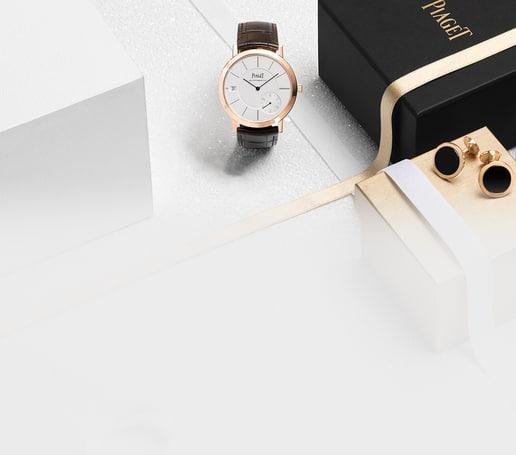Ultraflache Uhr und Manschettenknöpfe für die Weihnachtstage