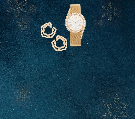 Rose gold diamond watch & luxury earrings for Holiday Season
