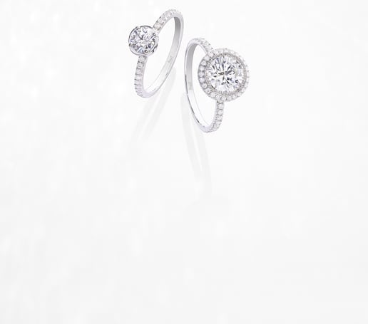 Piaget engagement rings in white gold and diamonds