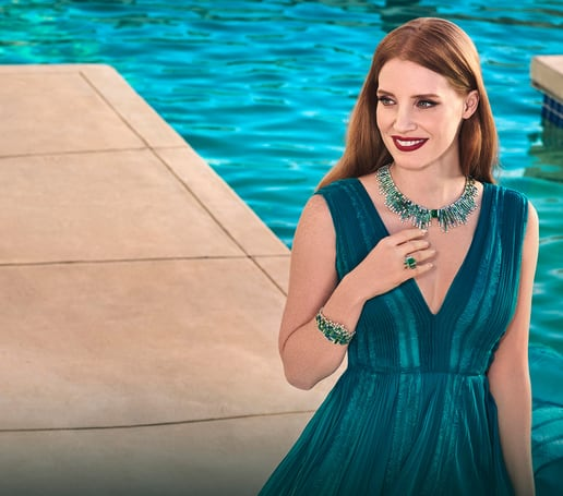 Jessica Chastain in Piaget diamond high jewelry